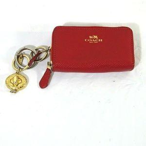 Coach Double Zip Coin Card Mini Wallet Key Chain